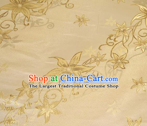 Chinese Classical Pentas Flowers Pattern Design Golden Brocade Asian Traditional Hanfu Silk Fabric Tang Suit Fabric Material