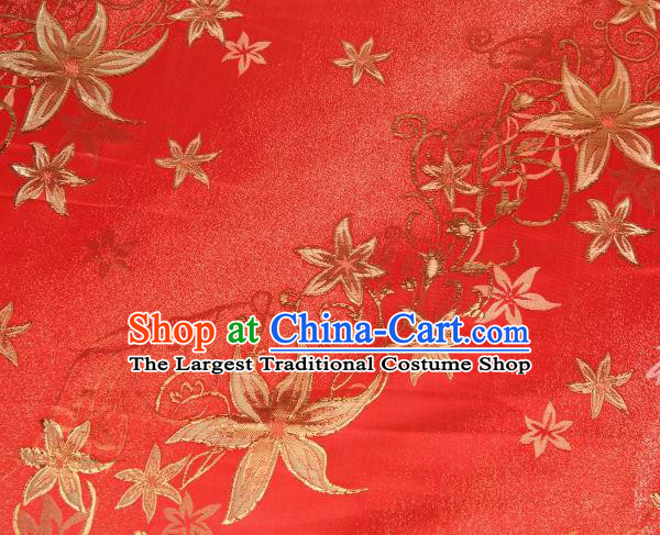 Chinese Classical Pentas Flowers Pattern Design Red Brocade Asian Traditional Hanfu Silk Fabric Tang Suit Fabric Material