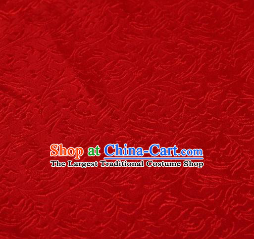 Chinese Classical Scroll Pattern Design Red Brocade Asian Traditional Hanfu Silk Fabric Tang Suit Fabric Material