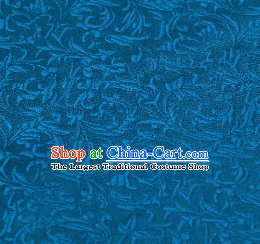 Chinese Classical Scroll Pattern Design Blue Brocade Asian Traditional Hanfu Silk Fabric Tang Suit Fabric Material