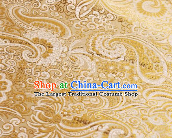 Chinese Classical Charonia Tritonis Pattern Design Light Golden Brocade Asian Traditional Hanfu Silk Fabric Tang Suit Fabric Material