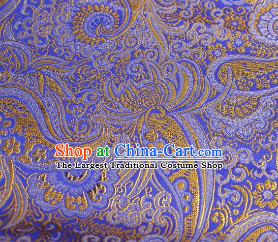 Chinese Classical Charonia Tritonis Pattern Design Blue Brocade Asian Traditional Hanfu Silk Fabric Tang Suit Fabric Material