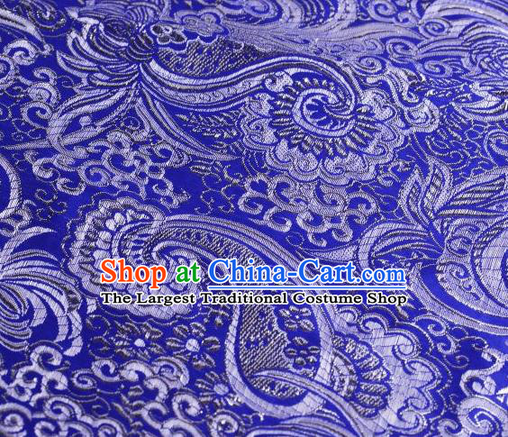 Chinese Classical Charonia Tritonis Pattern Design Royalblue Brocade Asian Traditional Hanfu Silk Fabric Tang Suit Fabric Material