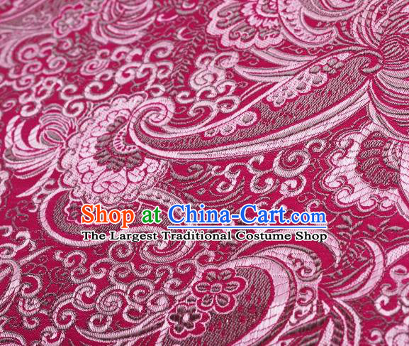 Chinese Classical Charonia Tritonis Pattern Design Rosy Brocade Asian Traditional Hanfu Silk Fabric Tang Suit Fabric Material