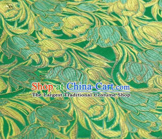 Chinese Classical Tulip Pattern Design Green Brocade Asian Traditional Hanfu Silk Fabric Tang Suit Fabric Material