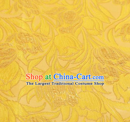 Chinese Classical Tulip Pattern Design Yellow Brocade Asian Traditional Hanfu Silk Fabric Tang Suit Fabric Material