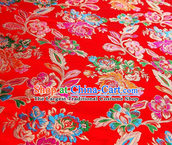 Chinese Classical Colorful Peony Pattern Design Red Brocade Asian Traditional Hanfu Silk Fabric Tang Suit Fabric Material