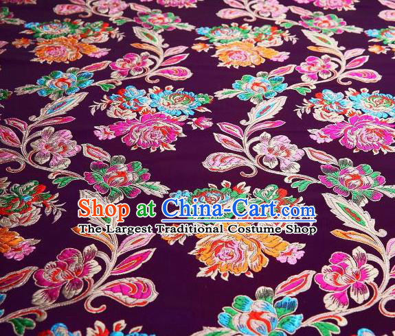 Chinese Classical Colorful Peony Pattern Design Purple Brocade Asian Traditional Hanfu Silk Fabric Tang Suit Fabric Material