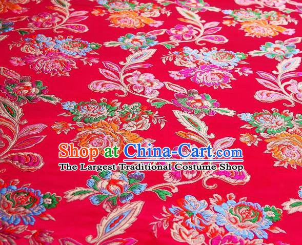 Chinese Classical Colorful Peony Pattern Design Rosy Brocade Asian Traditional Hanfu Silk Fabric Tang Suit Fabric Material
