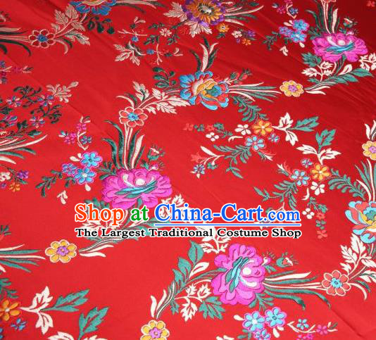 Chinese Classical Malus Spectabilis Pattern Design Red Brocade Asian Traditional Hanfu Silk Fabric Tang Suit Fabric Material