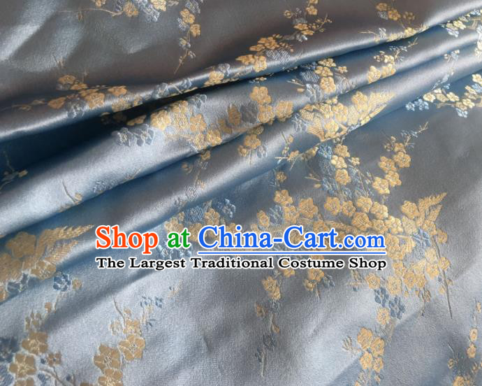 Chinese Classical Plum Blossom Pattern Design Blue Brocade Asian Traditional Hanfu Silk Fabric Tang Suit Fabric Material