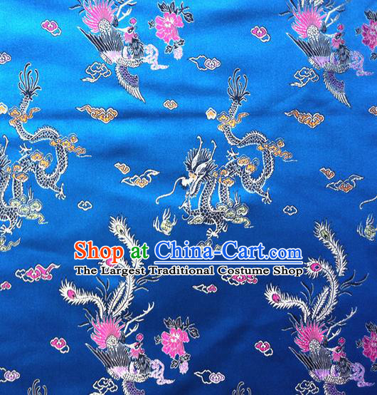 Chinese Classical Dragon Phoenix Pattern Design Blue Brocade Asian Traditional Hanfu Silk Fabric Tang Suit Fabric Material