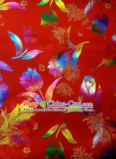 Chinese Classical Gilding Tulip Pattern Design Red Brocade Asian Traditional Hanfu Silk Fabric Tang Suit Fabric Material