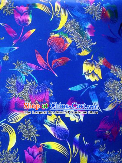 Chinese Classical Gilding Tulip Pattern Design Royalblue Brocade Asian Traditional Hanfu Silk Fabric Tang Suit Fabric Material