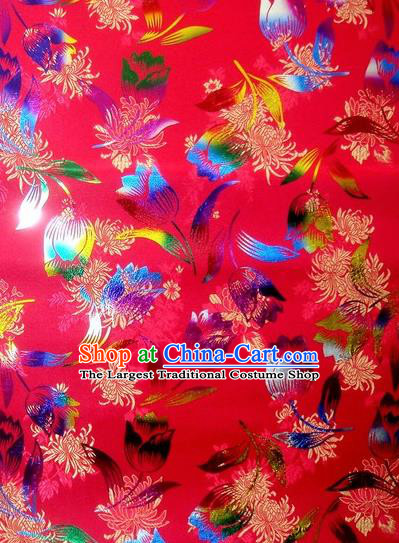 Chinese Classical Gilding Tulip Pattern Design Rosy Brocade Asian Traditional Hanfu Silk Fabric Tang Suit Fabric Material