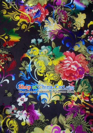Chinese Classical Gilding Peony Pattern Design Black Brocade Asian Traditional Hanfu Silk Fabric Tang Suit Fabric Material