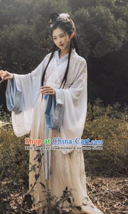 Traditional Chinese Jin Dynasty Court Princess Embroidered Hanfu Dress Ancient Drama Peri Goddess Historical Costume for Women