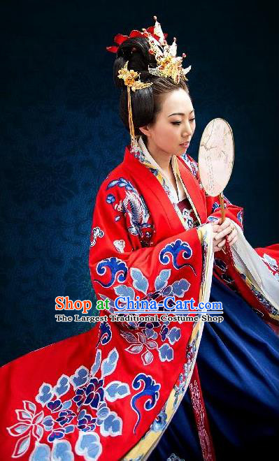 Traditional Chinese Song Dynasty Empress Wedding Embroidered Red Hanfu Dress Ancient Drama Court Queen Historical Costume for Women