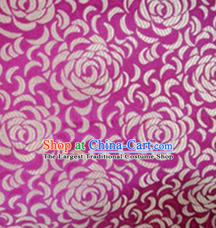 Chinese Classical Chrysanthemum Pattern Design Rosy Brocade Asian Traditional Hanfu Silk Fabric Tang Suit Fabric Material