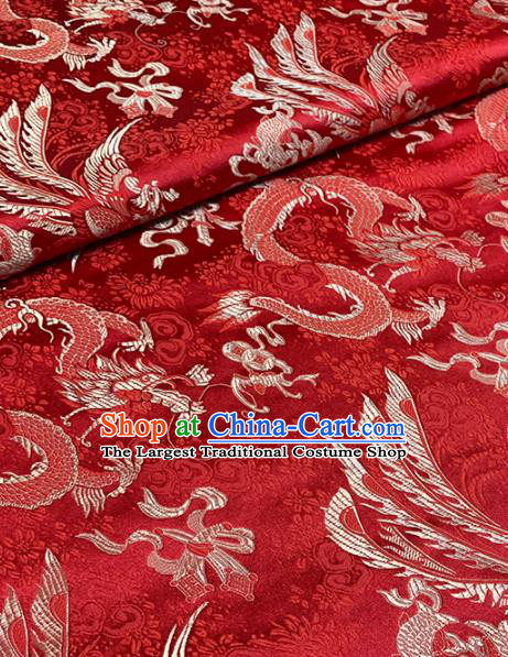 Chinese Classical Auspicious Dragon Pattern Design Red Brocade Asian Traditional Hanfu Silk Fabric Tang Suit Fabric Material