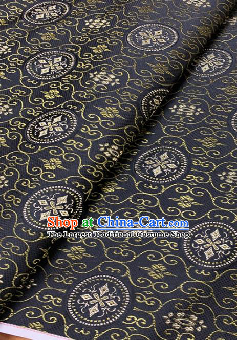 Chinese Classical Pattern Design Navy Brocade Asian Traditional Hanfu Silk Fabric Tang Suit Fabric Material