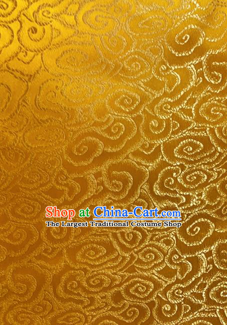 Chinese Classical Cloud Pattern Design Golden Brocade Asian Traditional Hanfu Silk Fabric Tang Suit Fabric Material