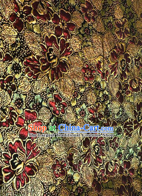 Chinese Classical Pattern Design Purplish Red Brocade Asian Traditional Tibetan Robe Silk Fabric Tang Suit Fabric Material