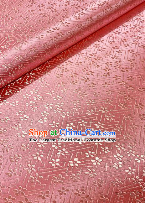 Chinese Classical Plum Blossom Pattern Design Pink Brocade Asian Traditional Cheongsam Silk Fabric Tang Suit Fabric Material