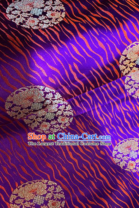 Chinese Classical Round Chrysanthemum Pattern Design Purple Brocade Asian Traditional Cheongsam Silk Fabric Tang Suit Fabric Material