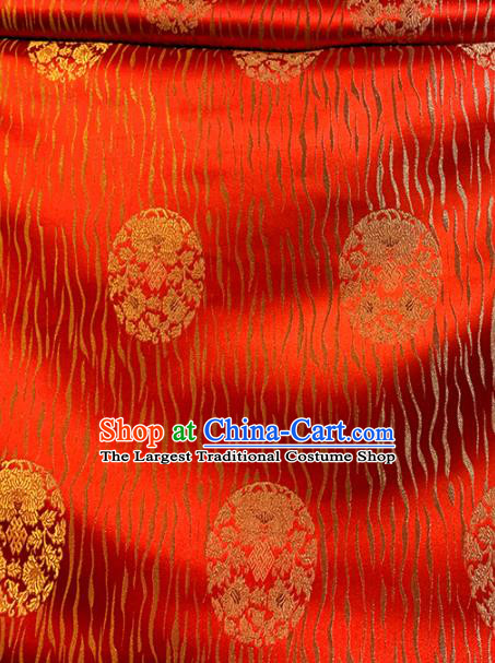 Chinese Classical Round Chrysanthemum Pattern Design Red Brocade Asian Traditional Cheongsam Silk Fabric Tang Suit Fabric Material