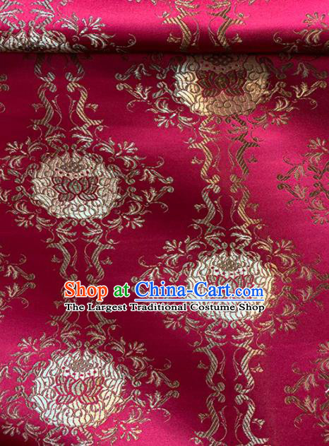 Chinese Classical Lotus Pattern Design Rosy Brocade Asian Traditional Cheongsam Silk Fabric Tang Suit Fabric Material
