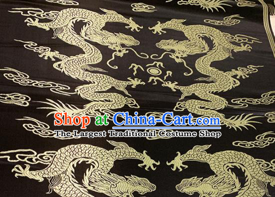 Chinese Classical Dragons Pattern Design Black Brocade Asian Traditional Cheongsam Silk Fabric Tang Suit Fabric Material