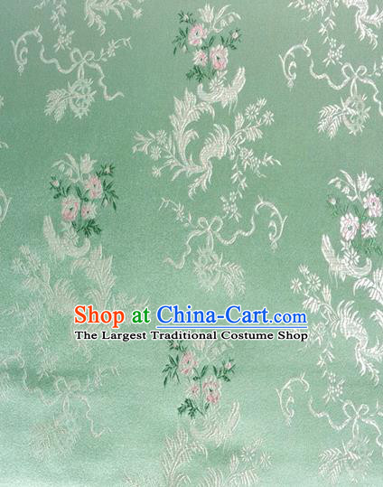 Chinese Classical Ribbon Chrysanthemum Pattern Design Green Brocade Asian Traditional Hanfu Silk Fabric Tang Suit Fabric Material