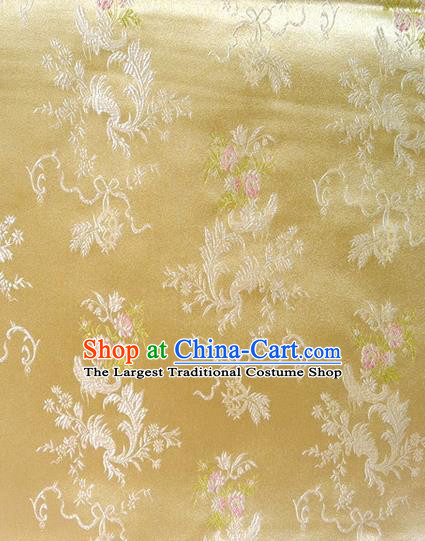 Chinese Classical Ribbon Chrysanthemum Pattern Design Golden Brocade Asian Traditional Hanfu Silk Fabric Tang Suit Fabric Material