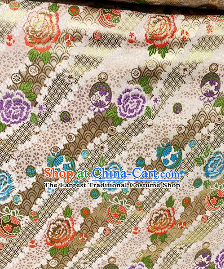 Chinese Classical Peony Pattern Design Golden Brocade Drapery Asian Traditional Tang Suit Silk Fabric Material