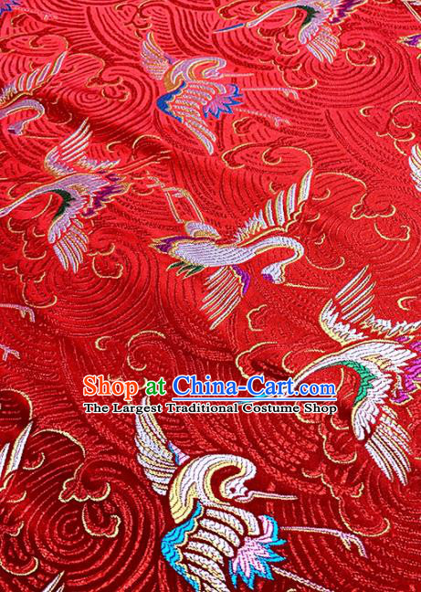 Japan Classical Cranes Pattern Design Red Brocade Asian Japanese Traditional Kimono Silk Fabric Material