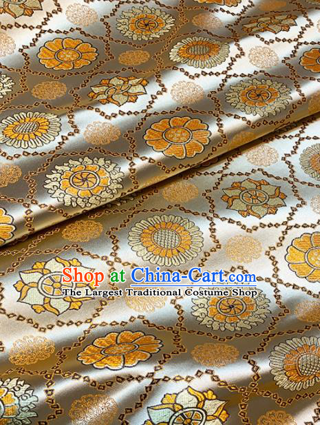 Chinese Classical Galsang Flower Pattern Design Golden Brocade Drapery Asian Traditional Tang Suit Silk Fabric Material