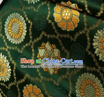 Chinese Classical Galsang Flower Pattern Design Deep Green Brocade Drapery Asian Traditional Tang Suit Silk Fabric Material