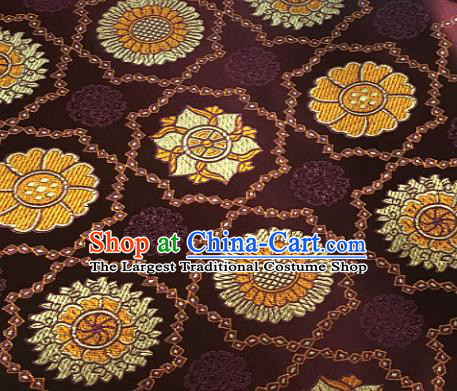 Chinese Classical Galsang Flower Pattern Design Deep Purple Brocade Drapery Asian Traditional Tang Suit Silk Fabric Material