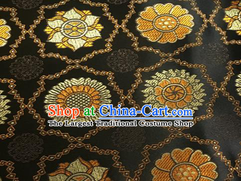 Chinese Classical Galsang Flower Pattern Design Black Brocade Drapery Asian Traditional Tang Suit Silk Fabric Material