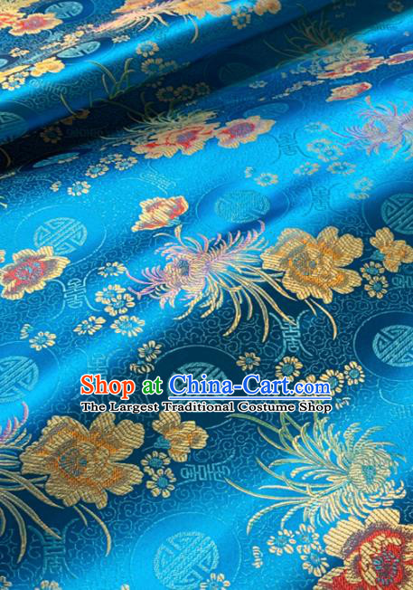 Chinese Classical Chrysanthemum Peony Pattern Design Blue Brocade Drapery Asian Traditional Tang Suit Silk Fabric Material