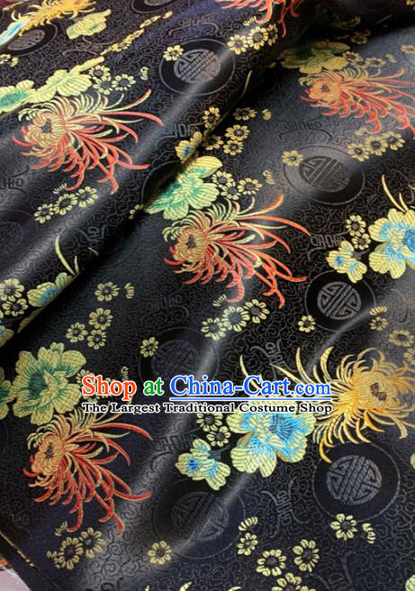 Chinese Classical Chrysanthemum Peony Pattern Design Black Brocade Drapery Asian Traditional Tang Suit Silk Fabric Material