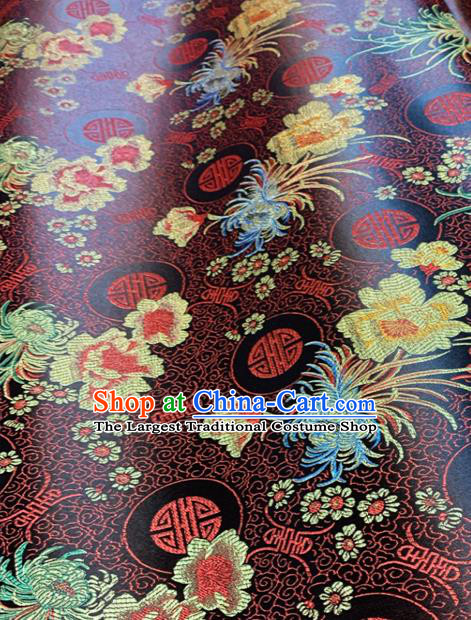 Chinese Classical Chrysanthemum Peony Pattern Design Brown Brocade Drapery Asian Traditional Tang Suit Silk Fabric Material