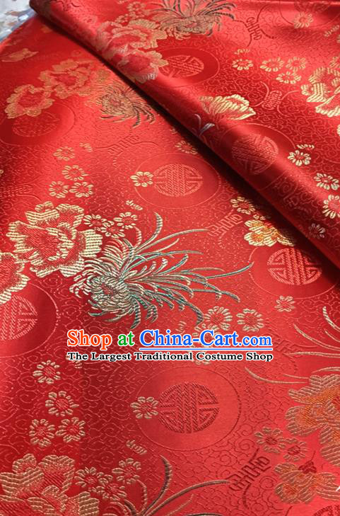 Chinese Classical Chrysanthemum Peony Pattern Design Red Brocade Drapery Asian Traditional Tang Suit Silk Fabric Material