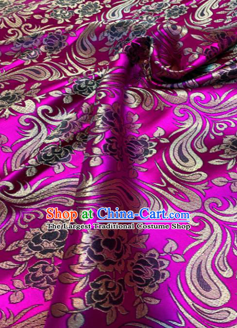 Chinese Classical Birdfoot Pattern Design Rosy Brocade Drapery Asian Traditional Tang Suit Silk Fabric Material