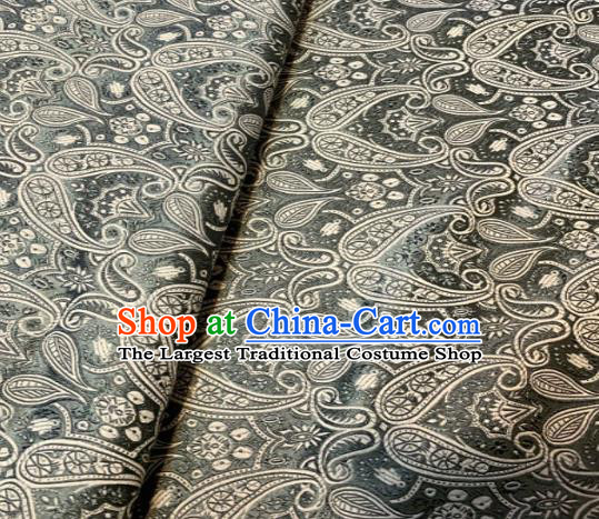 Chinese Classical Birdfoot Pattern Design Grey Brocade Drapery Asian Traditional Tang Suit Silk Fabric Material