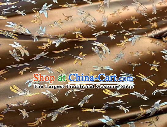 Chinese Classical Dragonfly Pattern Design Bronze Brocade Drapery Asian Traditional Tang Suit Silk Fabric Material