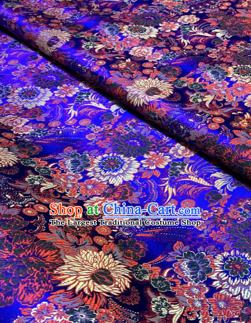 Chinese Classical Satin Chrysanthemum Pattern Design Royalblue Brocade Drapery Asian Traditional Tang Suit Silk Fabric Material