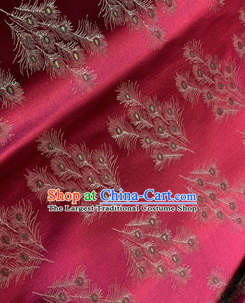 Chinese Classical Satin Feather Pattern Design Purplish Red Brocade Drapery Asian Traditional Tang Suit Silk Fabric Material