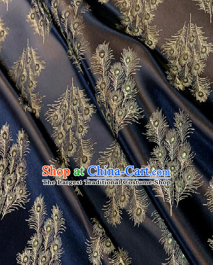 Chinese Classical Satin Feather Pattern Design Black Brocade Drapery Asian Traditional Tang Suit Silk Fabric Material